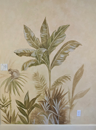 Palm and foliage mural