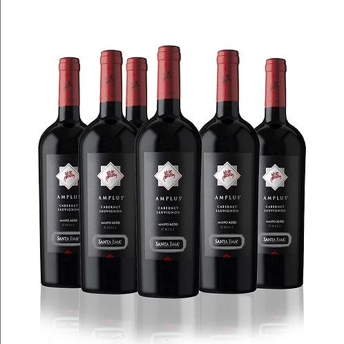 6 Pack Santa Ema AMPLUS Premium wine , Cepas Tintas , 750 cc