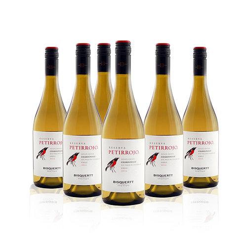 6 Pack Petirrojo Reserva , Viña Bisquertt, Chardonnay 750cc