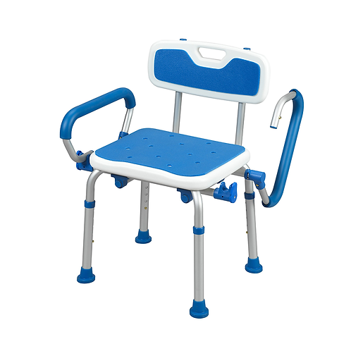 Padded Bath Safety Seat with Back and Swing Away Arms