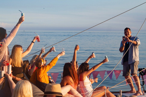 Three boat sunset cruise to launch the new JOIY rosé. Pictured: Winemaker, Chris Archer and guests