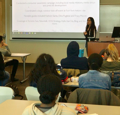 Lauren talking all things PR at the University of Guelph-Humber