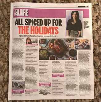 Toronto Sun feature on Chef Anjum Anand and her Indian-inspired Holiday menu