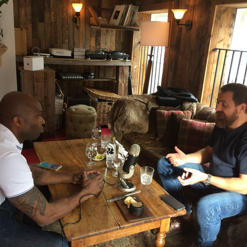 Black Cow co-founder, Paul 'Archie' Archard, taping The City podcast with Chad Cranston