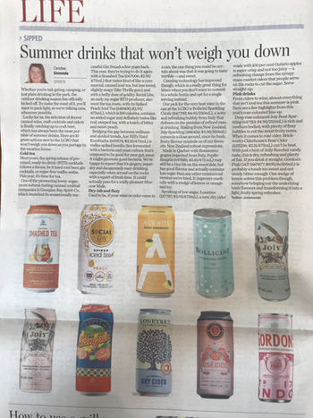 JOIY sparkling AND rosé in the Toronto Star