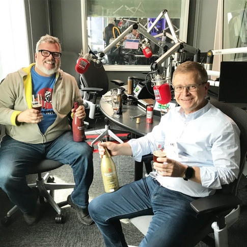 Rodenbach's brewmaster, Rudi Ghequire, getting ready to tape 'Let's Eat' with Zane Caplansky