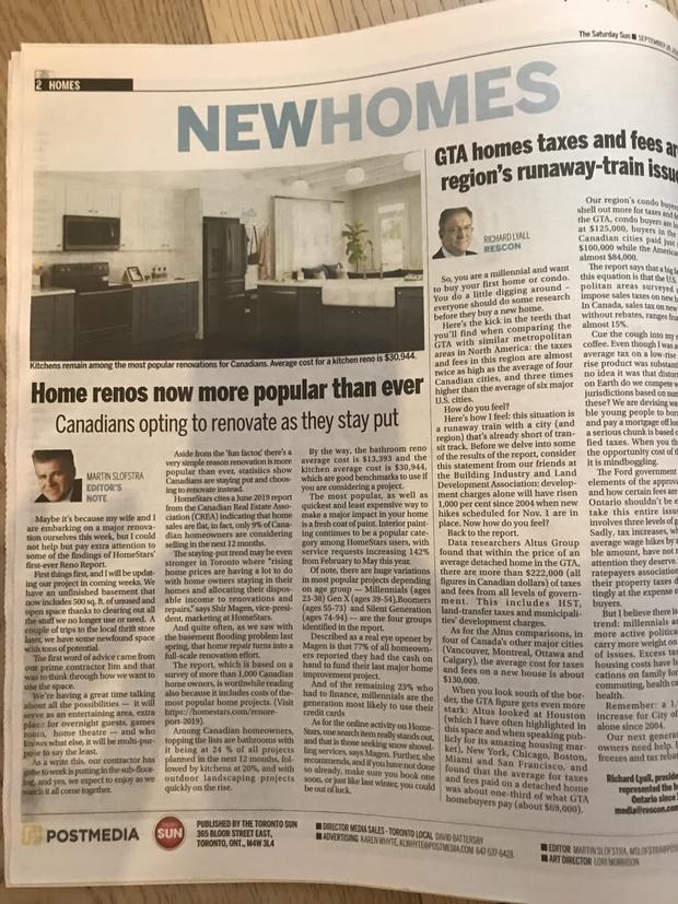 HomeStars Reno Report in the Toronto Sun