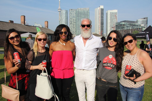 Guests at the launch of HEROES lager including Tracy Moore of Cityline and Fashion Santa