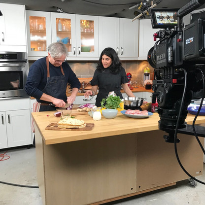 On set with Anjum Anand for a taping of Glen and Friends Cooking