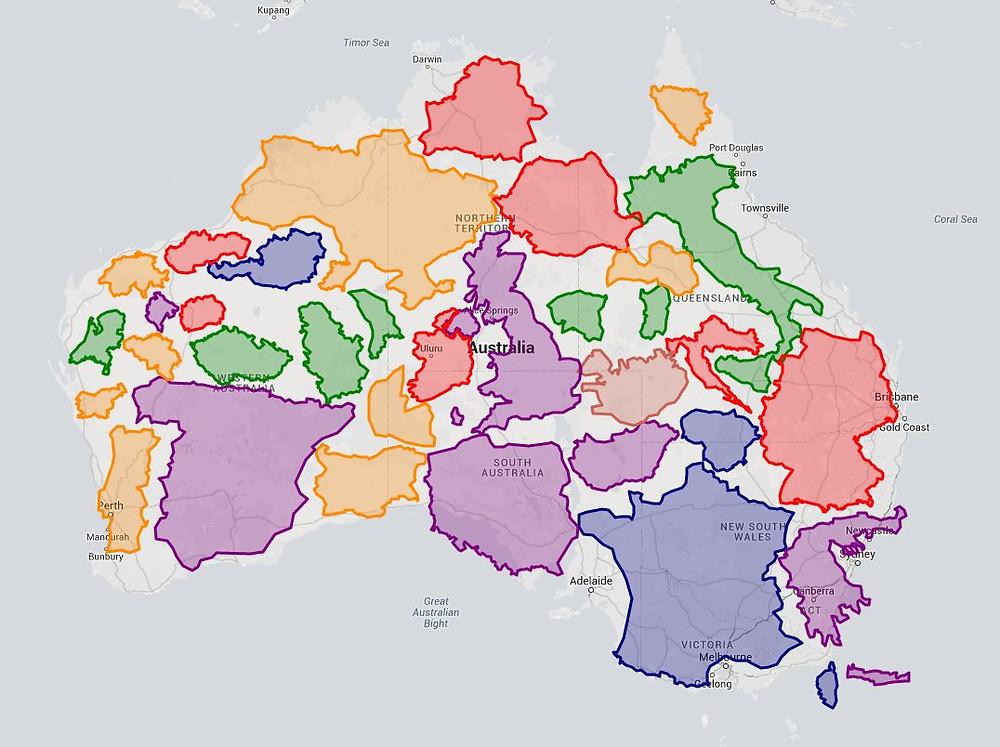 Verdadero tamaño de Australia
