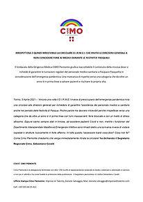 Comunicato Stampa CIMO Piemonte - 03.04.