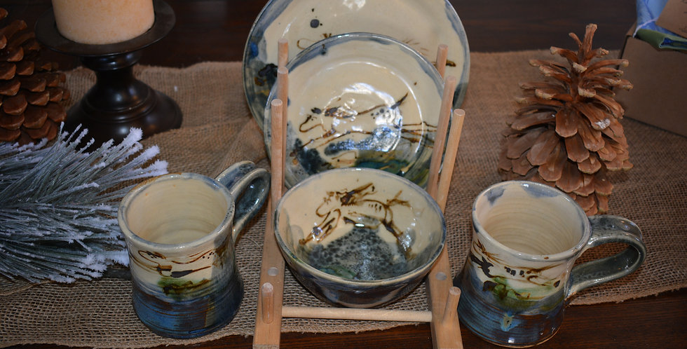 Four Piece Horse Dinnerware placesetting