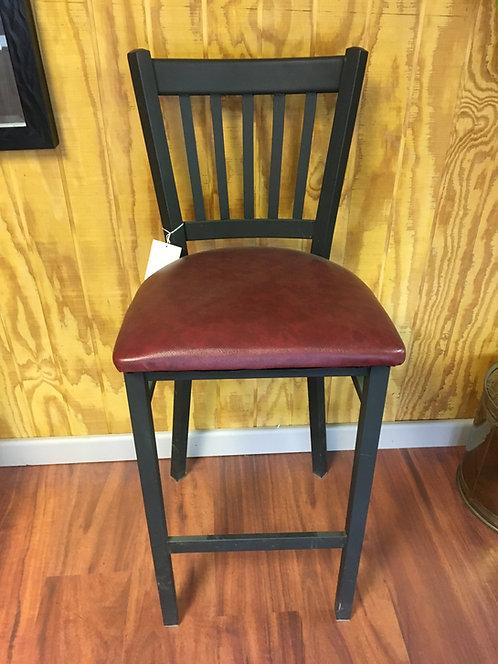 Black Stool with Burgundy Vinyl Seat