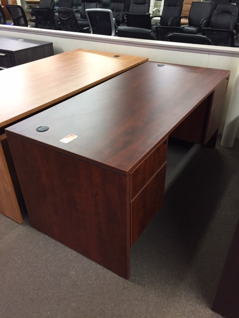 Laminate 3/4 Double Pedestal Desk (Display is Cherry)
