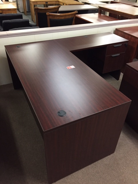 Laminate Desk and Return (Display is Mahogany)