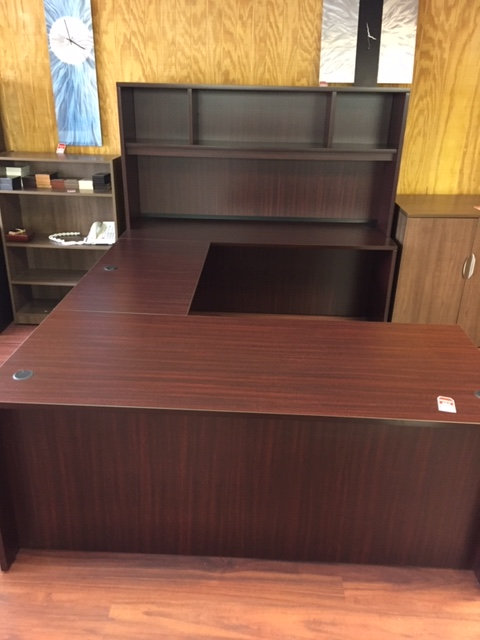 Laminate Executive U-Shaped Desk Unit with Open Hutch (Display is Mahogany)