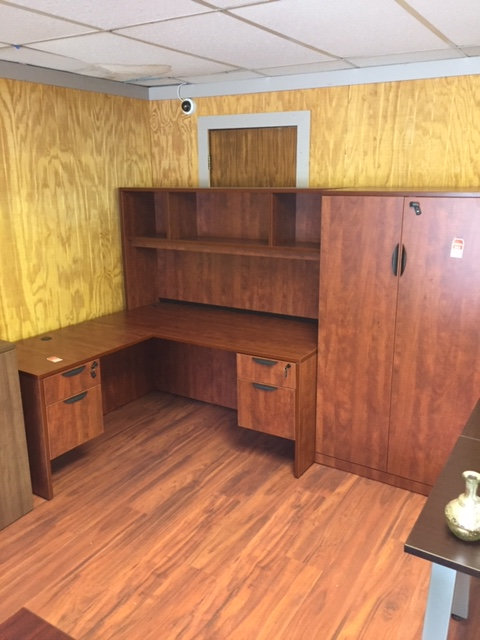 Laminate Desk and Return with Open Hutch (Display is Cherry)