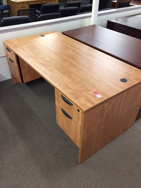Laminate 3/4 Double Pedestal Desk (Display is Honey)