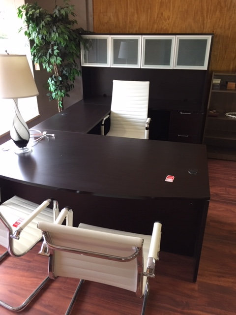 Laminate Executive U-Shaped Desk Unit with Hutch (Display is Espresso)