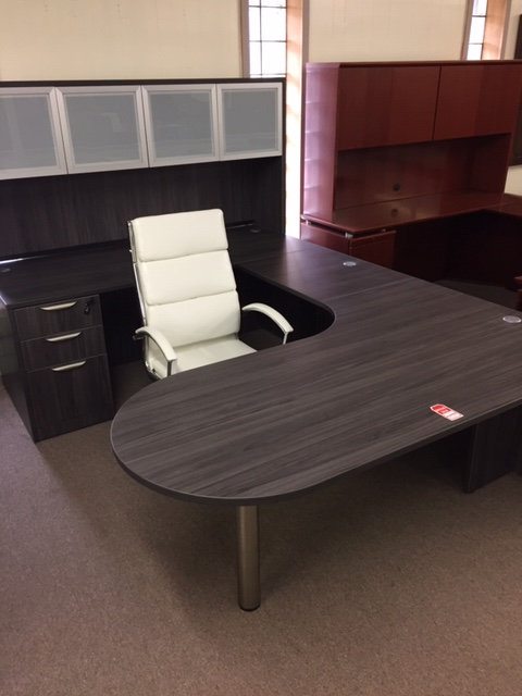 Laminate Executive U-Shaped Bullet Desk Unit with Hutch (Display is Costal Gray)