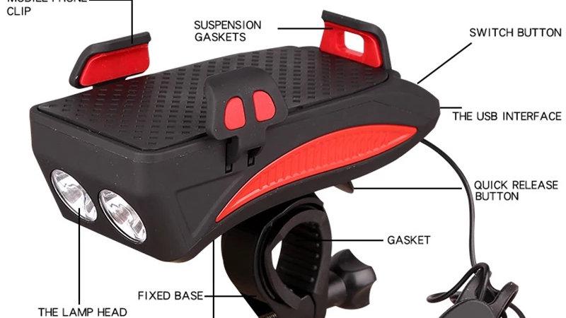 Bicycle Horn Lamp + Mobile Phone Bracket
