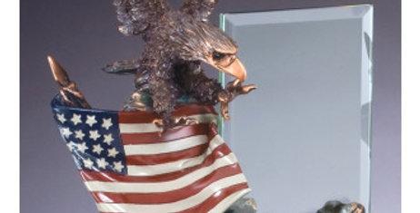 Eagle on Flag w/Glass