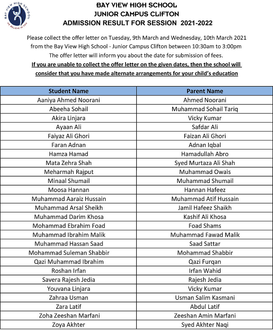 Admission Result - 6th March 2021 - Juni