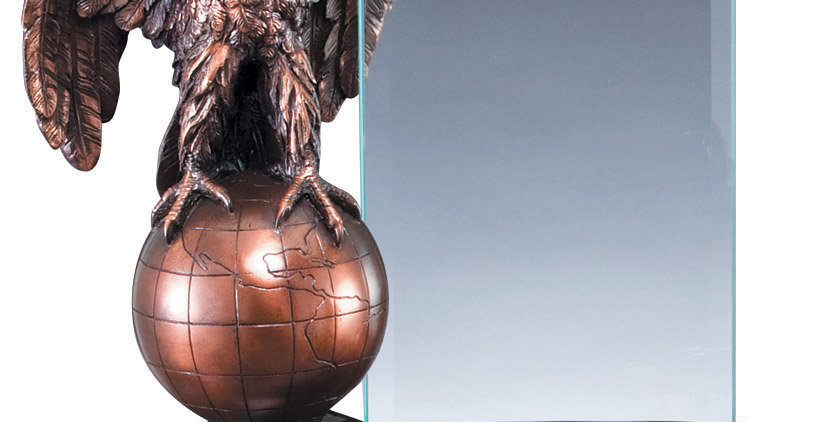 Eagle Statue on Globe with Glass