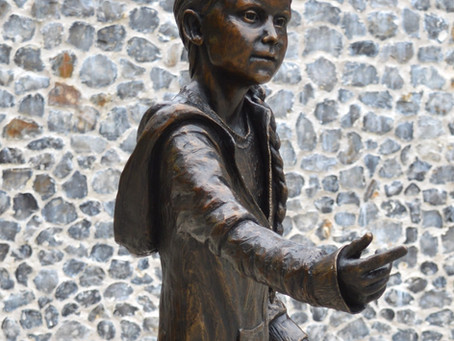 Greta Thunberg sculpture by SWA member Christine Charlesworth is unveiled