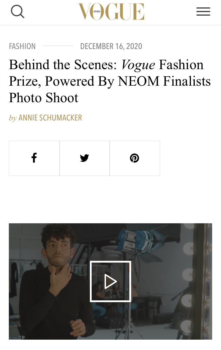 Behind the Scenes: Vogue Fashion Prize, Powered By NEOM Finalists Photo Shoot