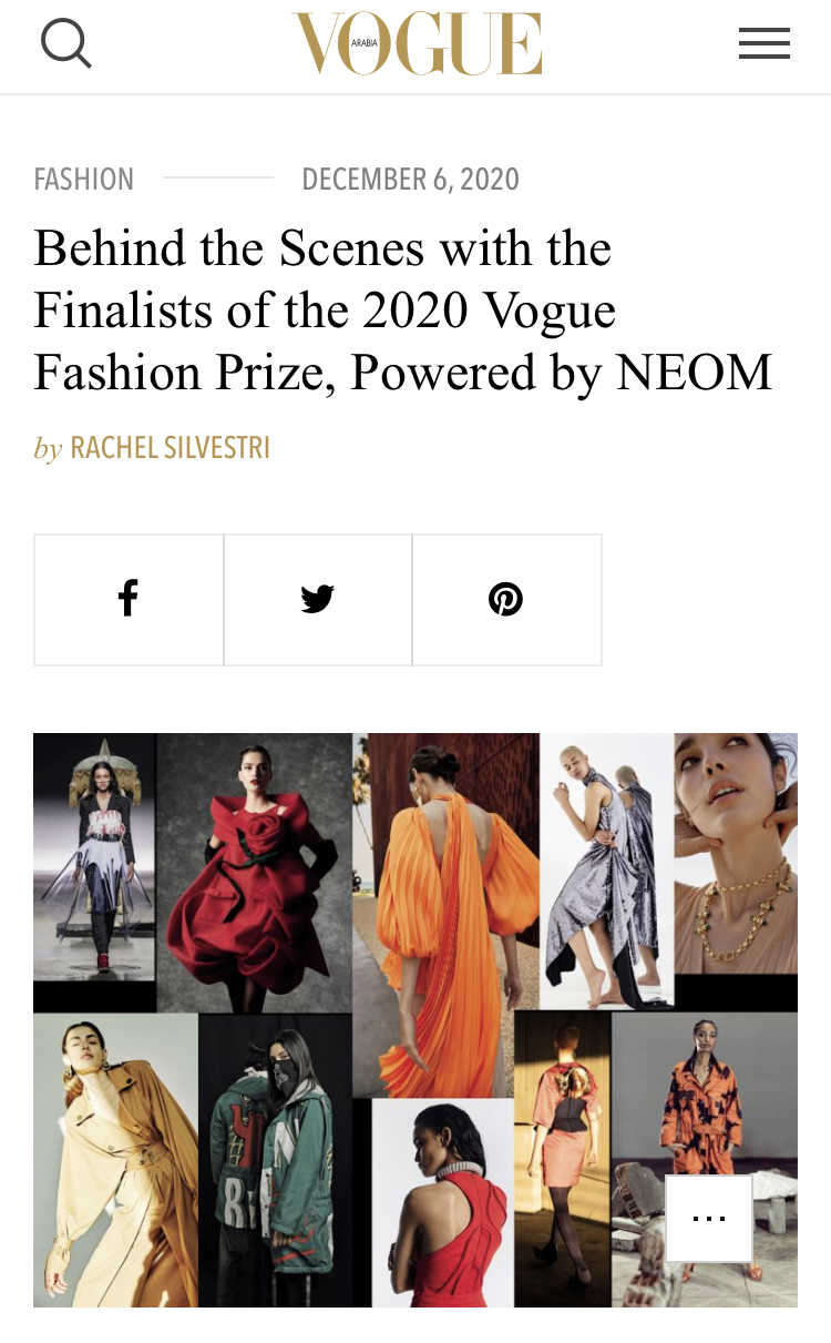 Behind the Scenes with the Finalists of the 2020 Vogue Fashion Prize, Powered by NEOM