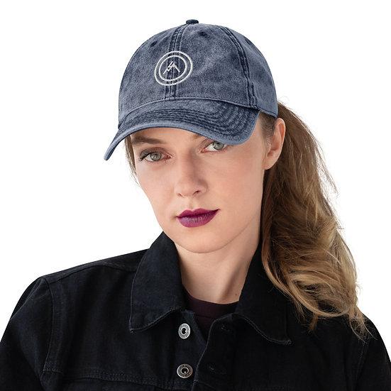 White Bullseye Vintage Cotton Twill Cap