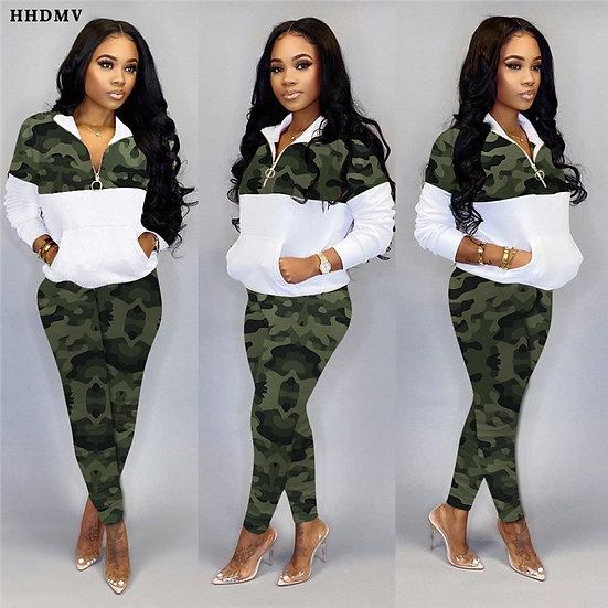 Lapel Zipper Sportswear Casual Camouflage 2 Piece Set