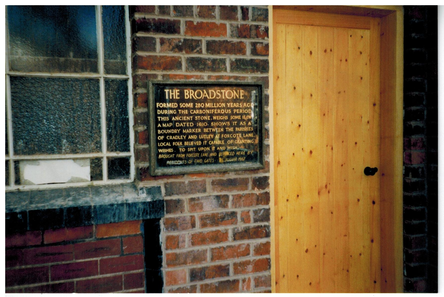 B160 Broadstone plaque