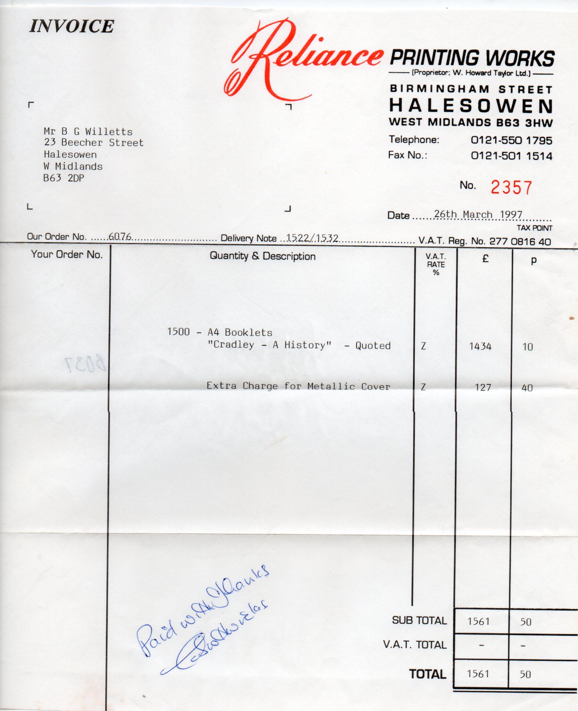 B037 Invoice [Cradley History]