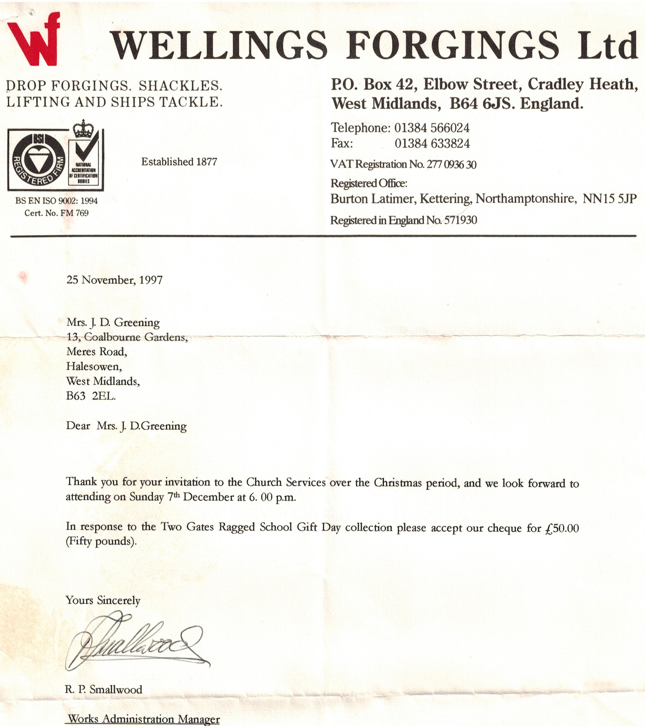B185 Letter [Wellings Forgings]Nov1997