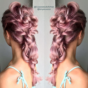 Pink hair model with braids