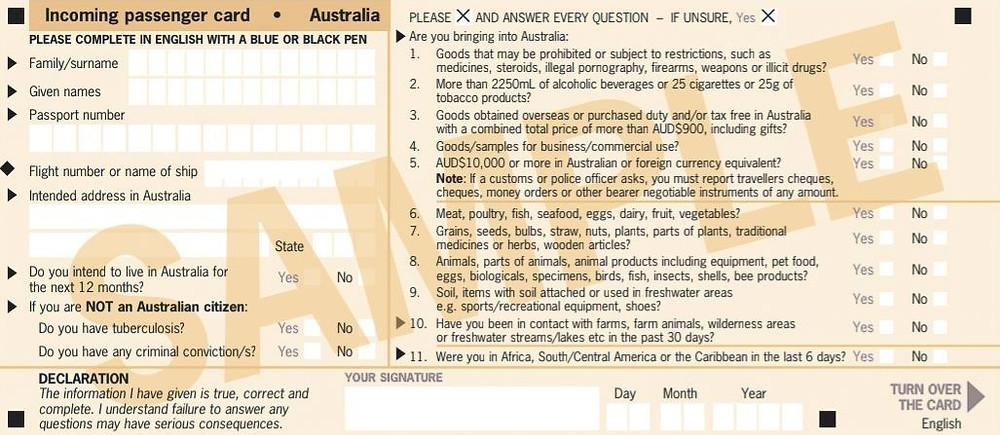 Incoming Passenger Card Australien Vorderseite
