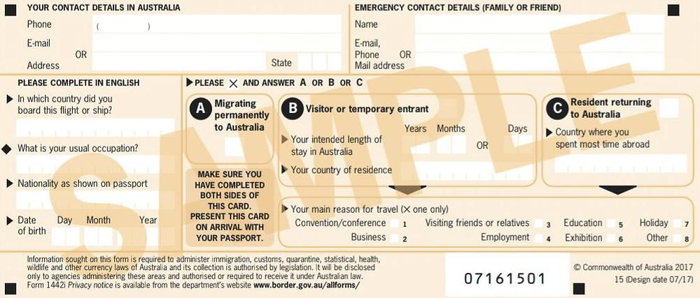Incoming Passenger Card Australien Rückseite
