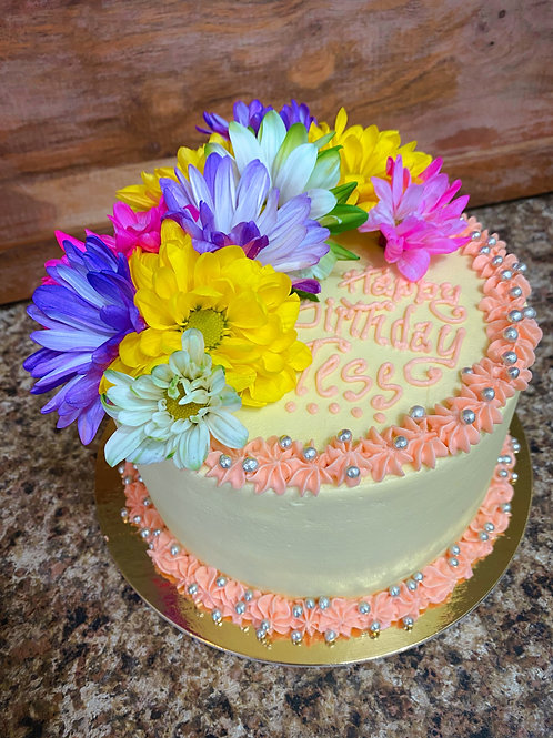 """6"""" Birthday Cake with Topper 