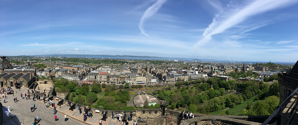 Panorama view of Edinburgh from the Castle