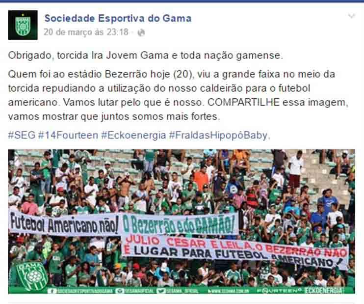 Nota oficial da Sociedade Esportiva do Gama se opondo à prática do futebol americano no Bezerrão.