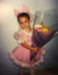 Beautiful Trienawear ballerina ambassador Natalie Jessie at her first ballet recital at age 3
