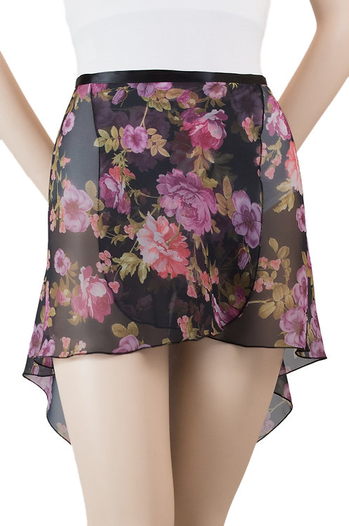 Trienawear #872 Brio tapered hi lo floral wrap ballet skirt- front