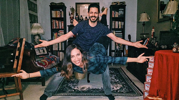 Beautiful Trienawear ballerina ambassador, Mercedes Lozano, in a ballet pose with her older brother