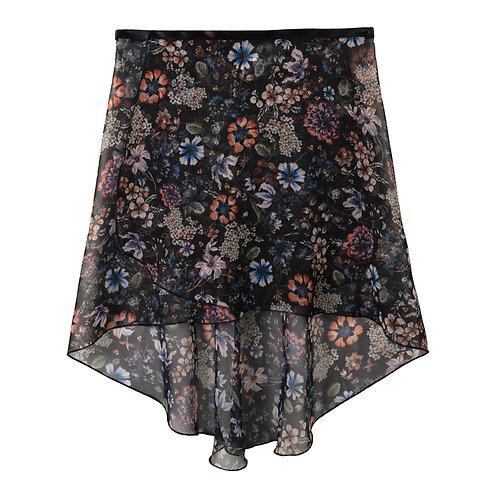 Trienawear Ballet Dance Skirt #909 Celebração front view, hi lo wrap with satin ribbon tie