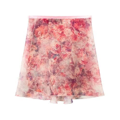 "Trienawear Ballet Dance Skirt #904 Sérénité Rose front view, 14"" wrap with satin ribbon tie"
