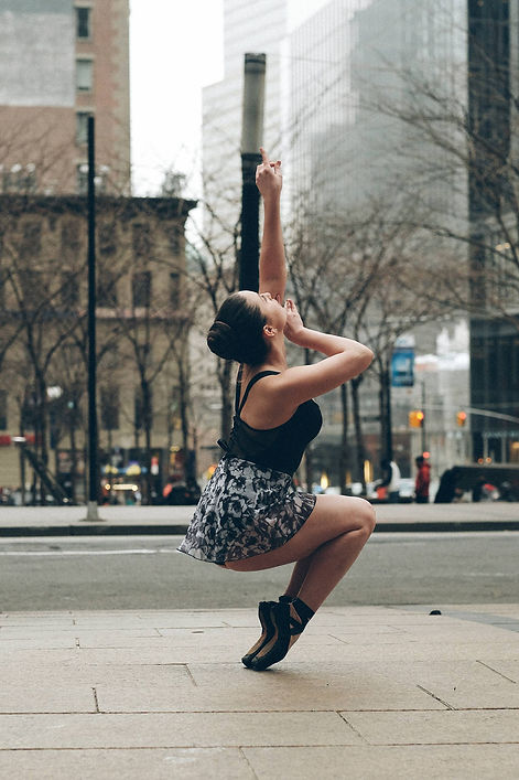 Beautiful, elegant, modern, feminine Trienawear ballerina ambassador, Natalie Jessie, New York City, wearing Trienawear floral skirt