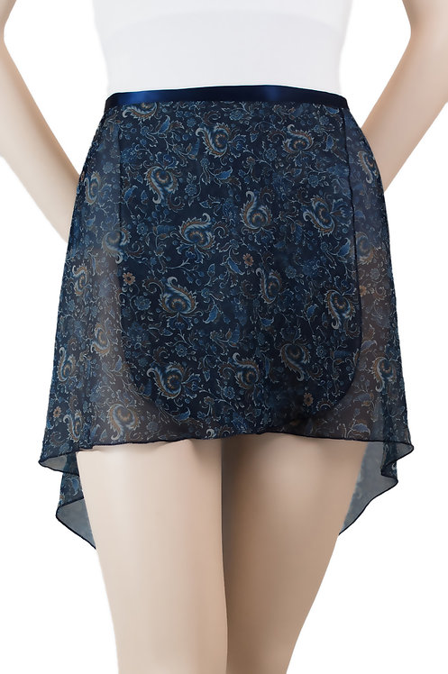 Trienawear #866 Cadenza tapered hi lo floral wrap ballet skirt- front