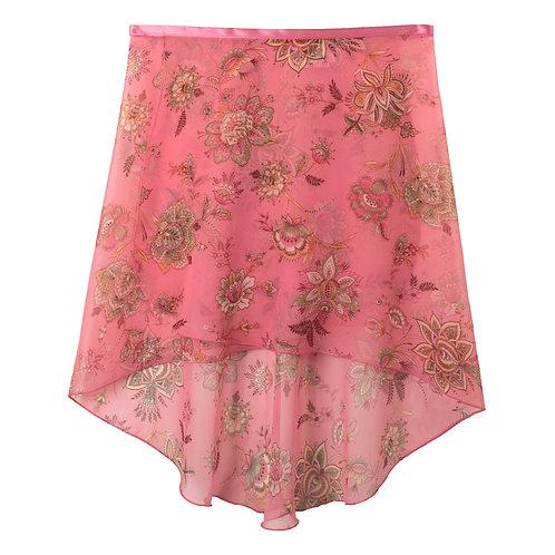 Trienawear Ballet Dance Skirt #905 Bellezza front view, hi lo wrap with satin ribbon tie